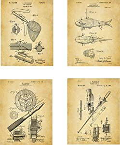 Fishing Patent Wall Art Prints - set of Four (8x10) Unframed - wall art decor for fishing fans