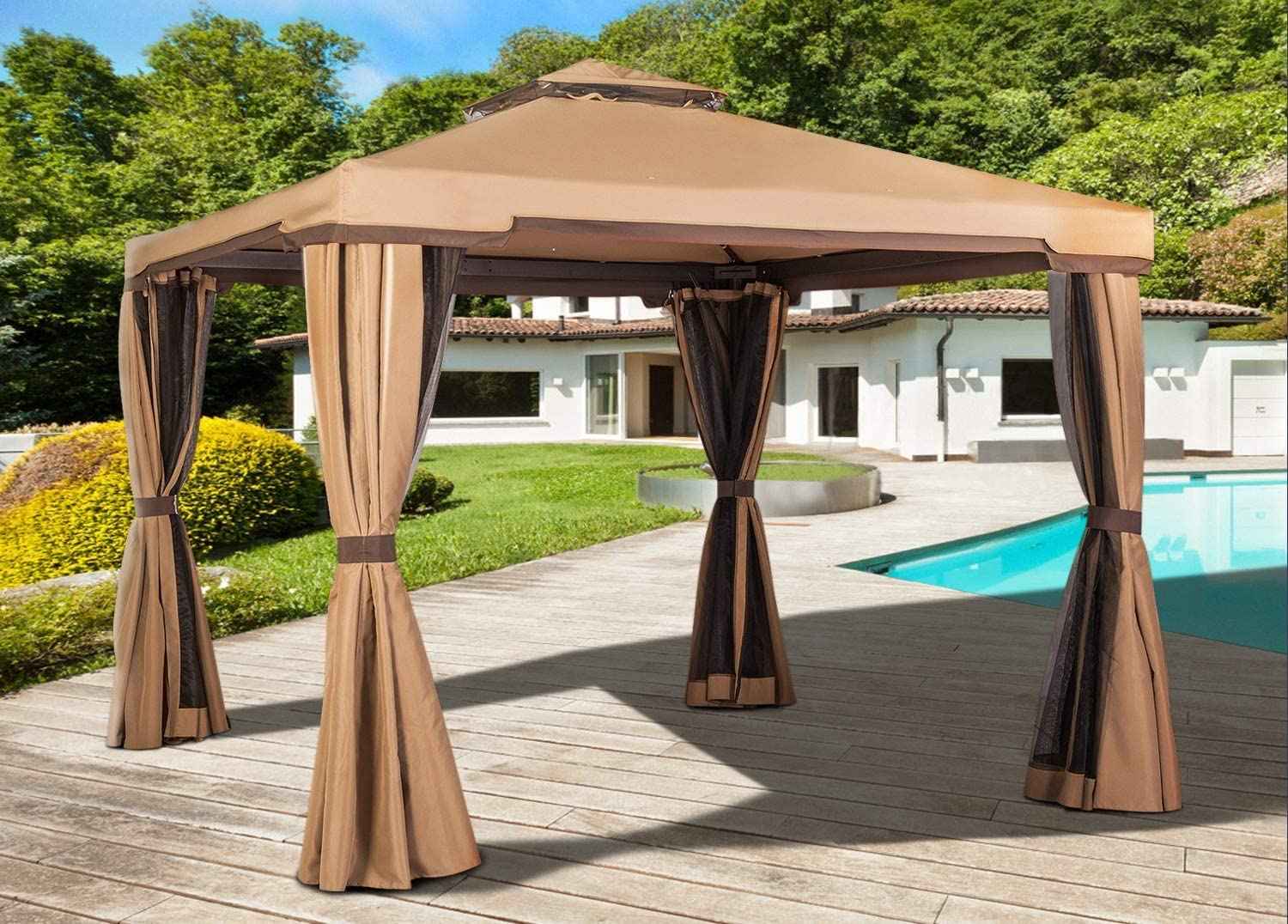SOLAURA Patio Furniture 10' x 10' Outdoor Garden Gazebo Light Brown Canopy Tent with Mosquito Netting