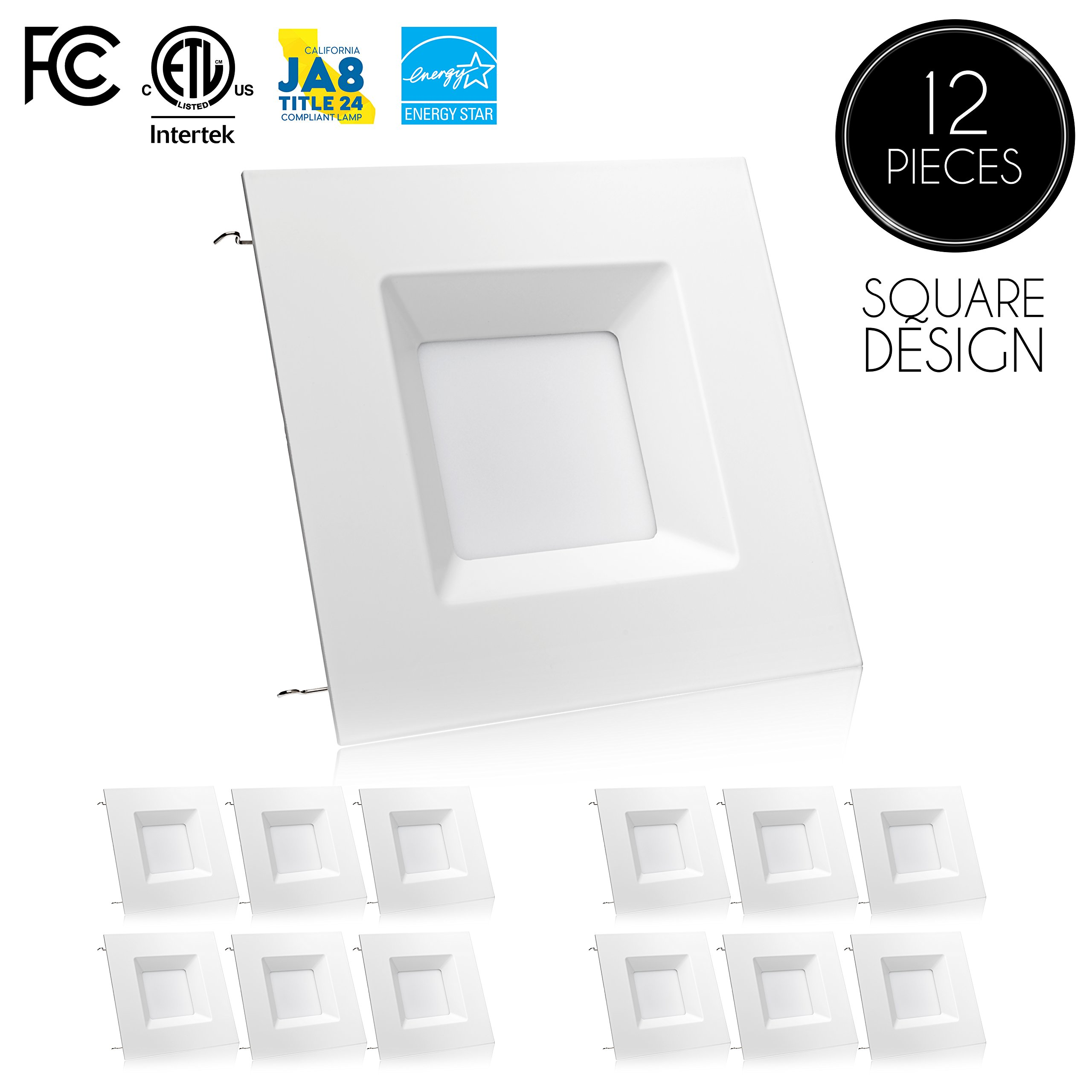 Parmida (12 Pack) 6 inch Dimmable LED Retrofit Recessed Downlight, 15W (100W Replacement), Square Trim, 3000K (Soft White), 1040LM, ENERGY STAR & ETL, LED Ceiling Can Light Fixture