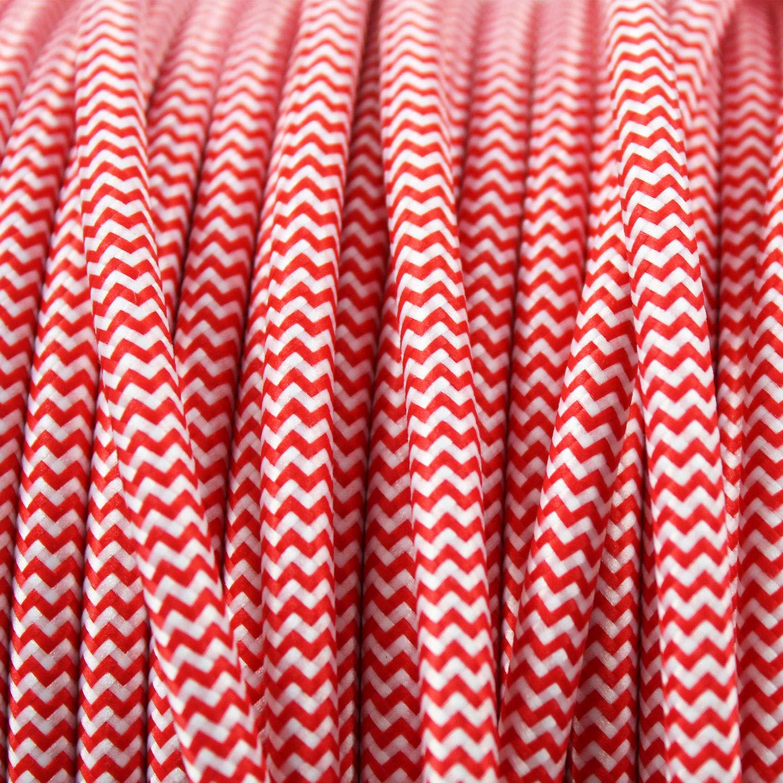 - Cable de luz con revestimiento textil smartect Cable para l/ámparas de tela en color Blanco 3 hilos Cable textil trenzado de 2 Metro 3 x 0,75 mm/²