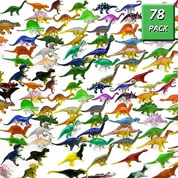GuassLee OuMuaMua Dinosaur Figure Toys 78 Pack - Plastic Dinosaur Set Kids Toddler Education, Including T-Rex, Stegosaurus, Monoclonius, etc: Amazon.es: Juguetes y juegos