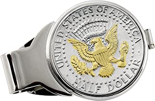 product image for Coin Money Clip - Presidential Seal JFK Half Dollar Selectively Layered in Pure 24k Gold | Brass Moneyclip Layered in Silver-Tone Rhodium | Holds Currency, Credit Cards, Cash | Genuine U.S. Coin