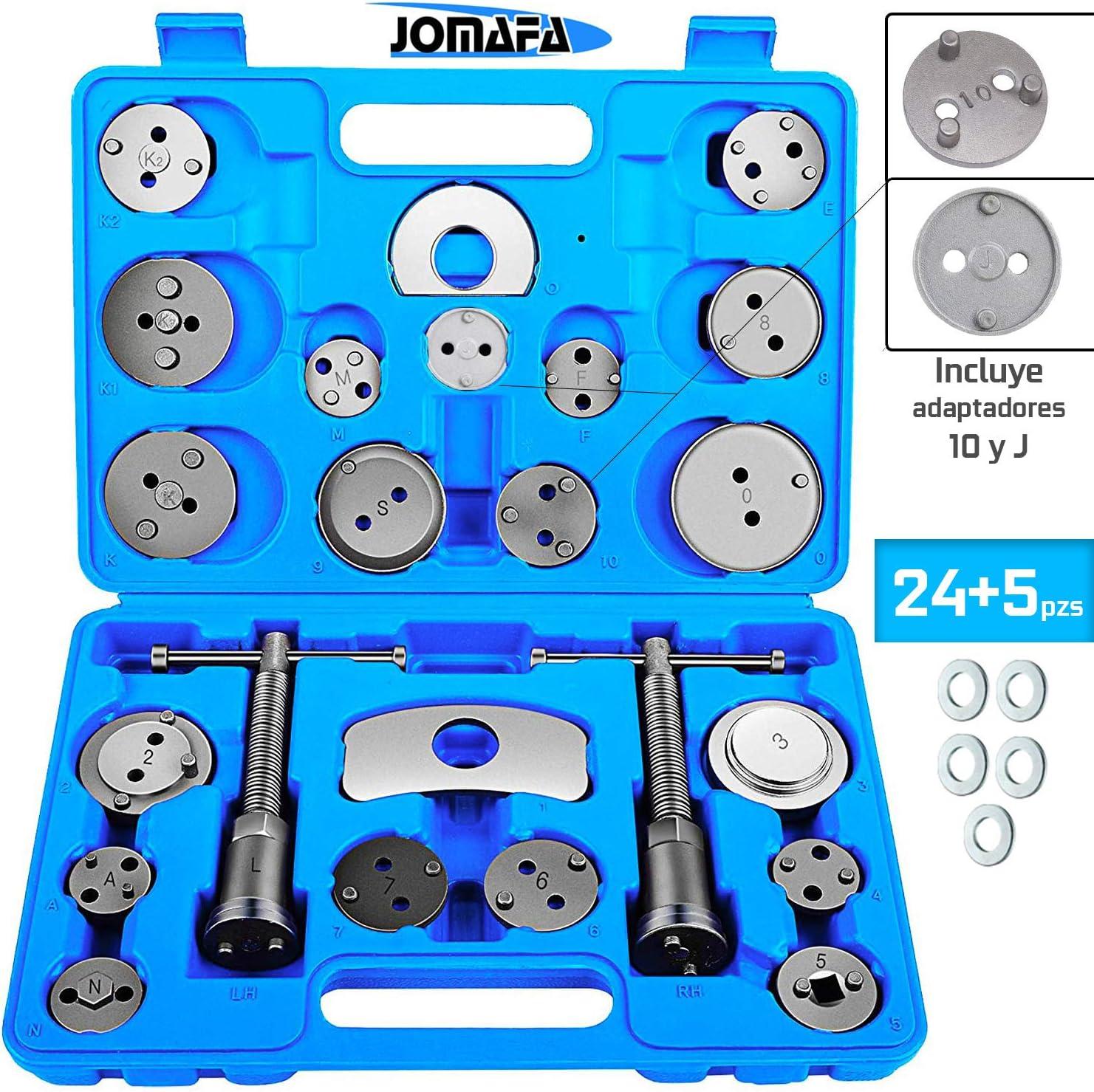 JOMAFA - Reposicionador de pistones de frenos 24 + 5 arandelas retractor adaptador 10 y J (para reposicionar el pistón de freno al cambiar los discos, las zapatas o las pastillas de freno)
