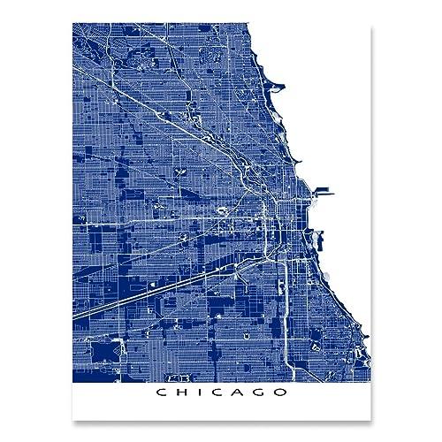 Amazon.com: Chicago Illinois USA, Map Art, City Street Print: Handmade