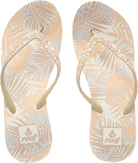 4530ce4f974c Reef Womens Krystal Star Prints Natural Tropic Wedge Flip Flops Size