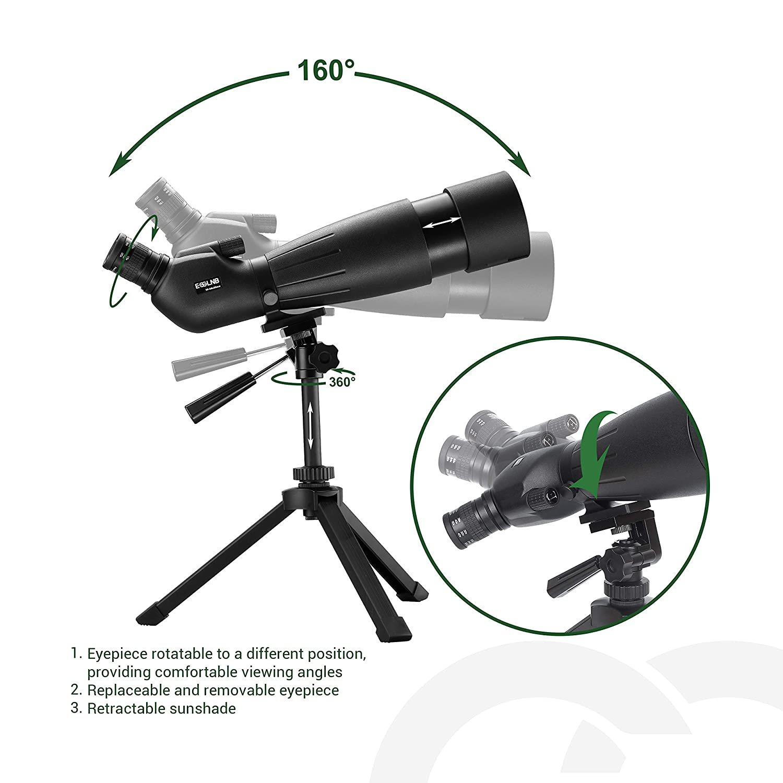 ESSLNB Telescopio Terrestre 25-75X70 Impermeable Telescopios Terrestres con Tr/ípode Tel/éfono Inteligente y Bolso BAK4 Prisma para la Observaci/ón de Aves Tiro al Blanco