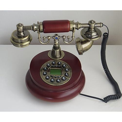 Antique Telephone Wooden vintage 60s fashion corded dial phone set antik retro home accessory decor