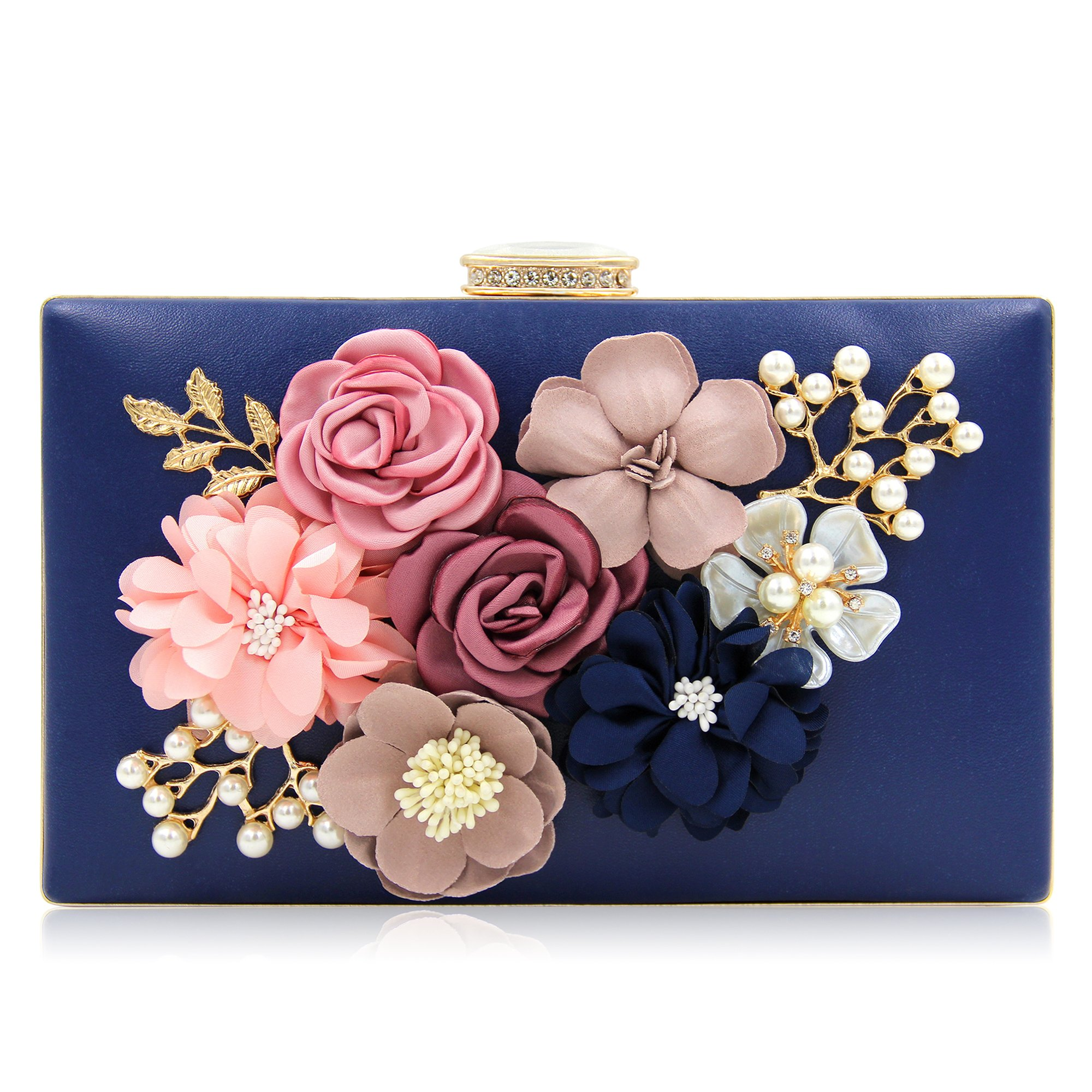 Milisente Women Flower Clutches Evening Bags Handbags Wedding Clutch Purse (Navy Blue)