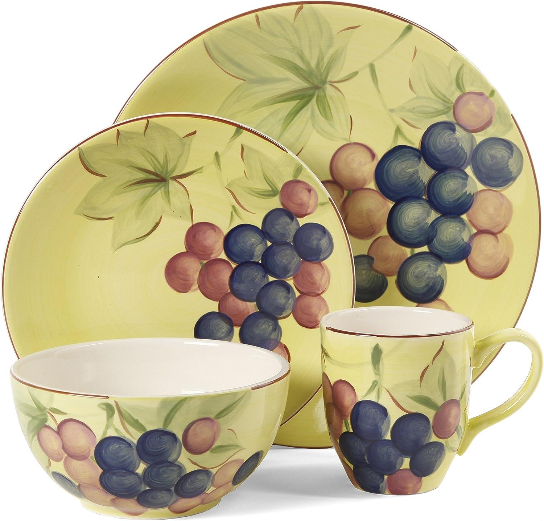 Gibson Home Fruitful Harvest Grapes 16-Piece Dinnerware Set, Multi-Color