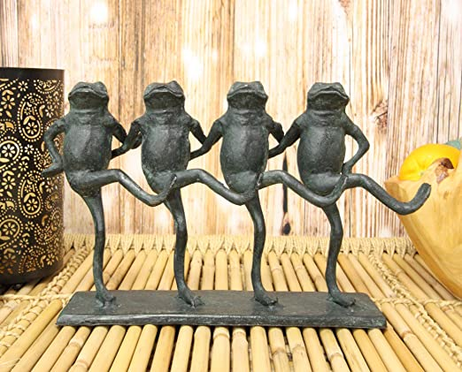 "Aluminum Whimsical Rustic Folk Dancing Frogs Parade Statue 14/""L Shelf Decor"