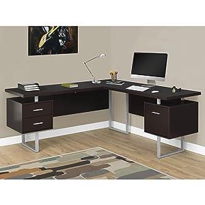 "Monarch Specialties I 7305 Computer Desk Left or Right Facing Capuccino 70""L"