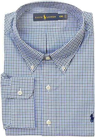 eed620fe3b4d Polo Ralph Lauren Men's Standard-Fit Checked Poplin Shirt, Medium Blue/Dark  Blue
