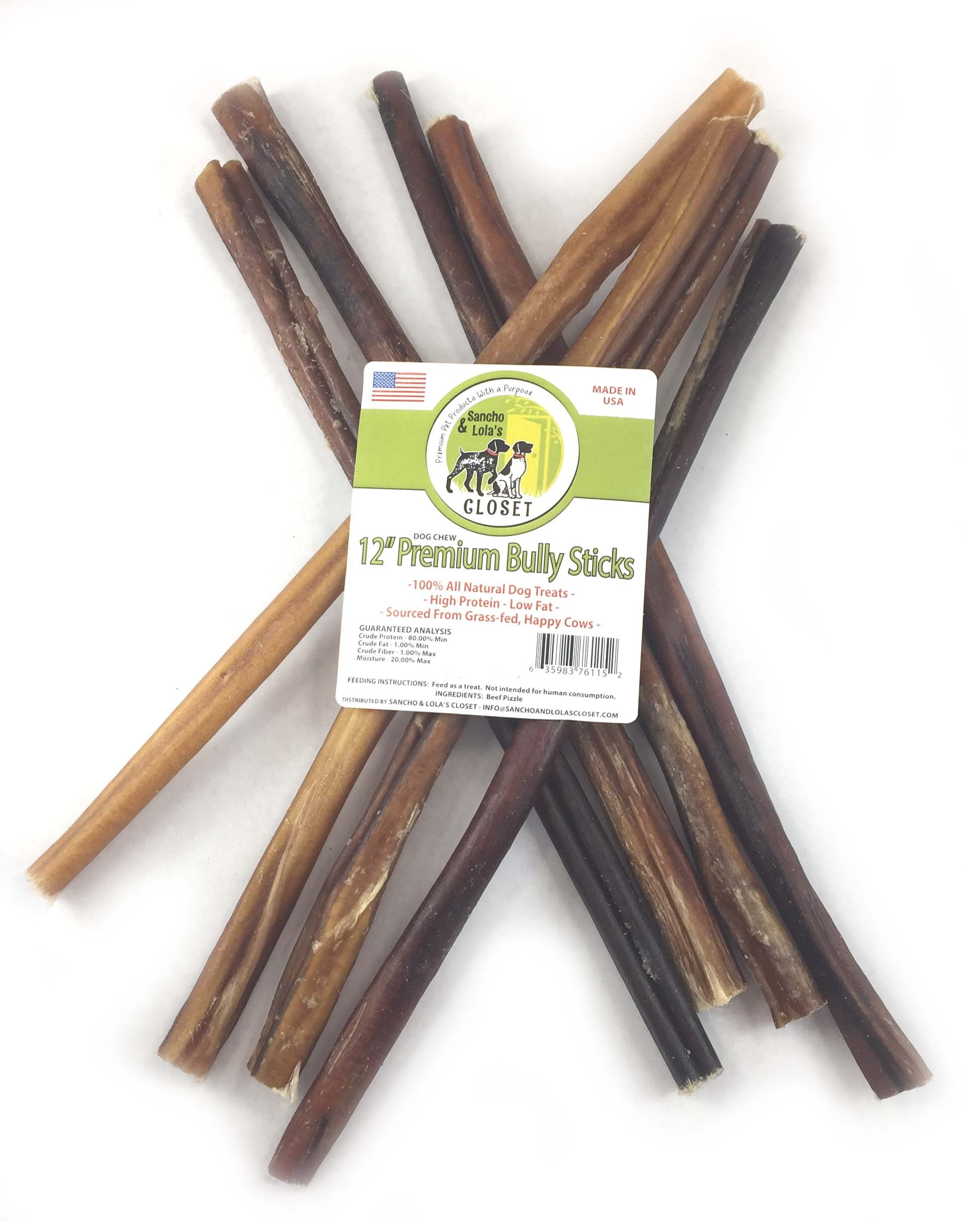 Sancho & Lola's 12-inch 9oz (7-9) Thin Bully Sticks for Dogs Made in USA Grain-Free High Protein Beef Dog Chews