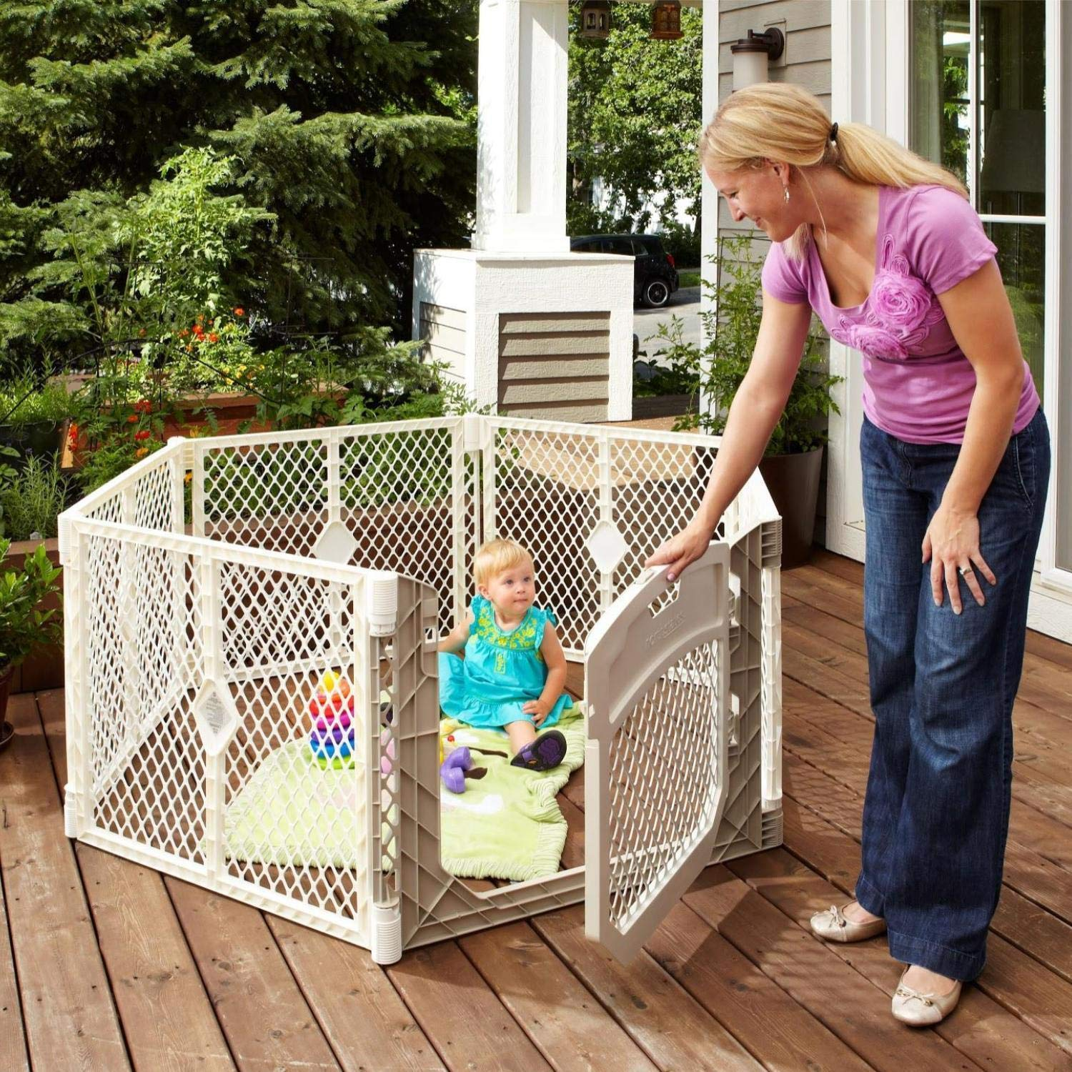 North States Superyard Ultimate 6-Panel Play Yard: Safe Play Area for Indoors or Outdoors - Folds up with Carrying Strap for Easy Travel. Freestanding. 18.5 sq. ft. Enclosure (26'' Tall, Ivory)