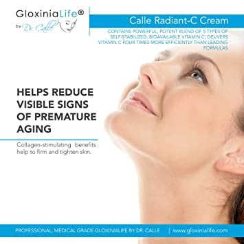 GloxiniaLife by Dr. Calle Radiant-C Cream- Vitamin C Enriched Cream for Face and Eyes- Anti Aging, Anti Wrinkle, Stimulates Face Collagen, Anti Acne, Facial Skin Lightening and Exfoliator, 1.8 oz