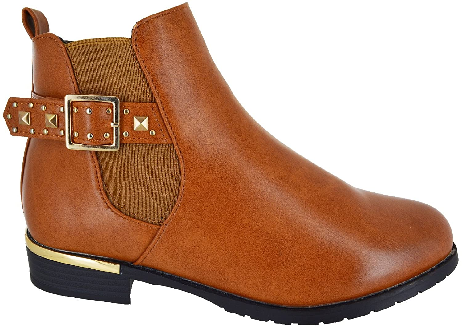 WOMENS LADIES FLAT ANKLE CHELSEA BOOTS CASUAL BUCKLE STRAP ZIP LOW HEEL SHOES