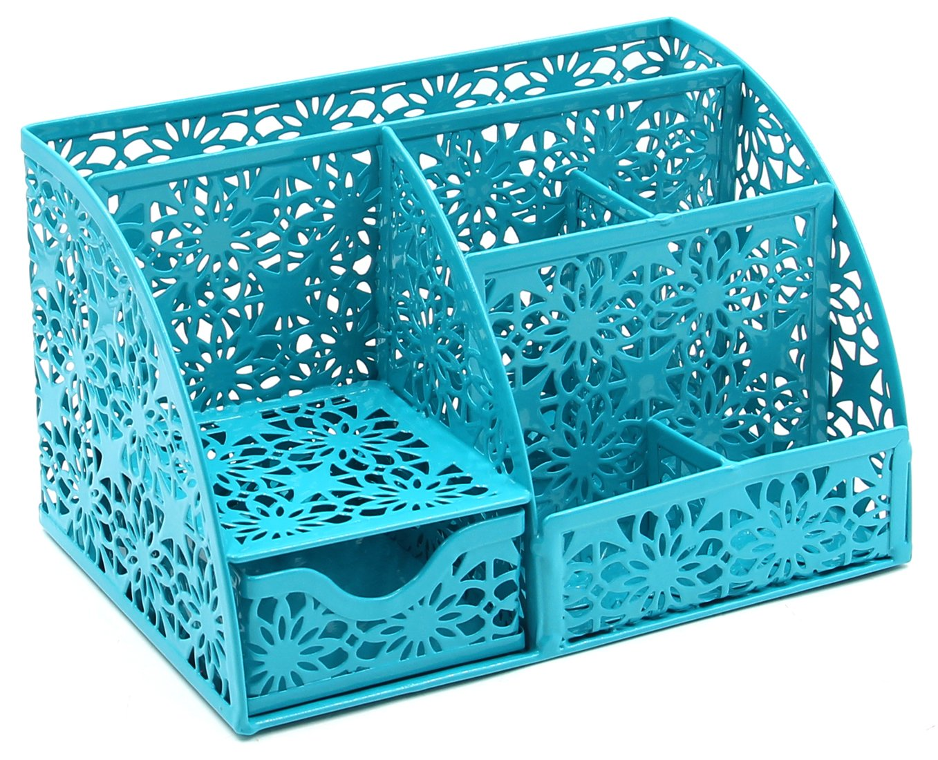 EasyPAG Cute Office Desk Organizer Hollow Flower Pattern 6 Compartments Desktop Accessories Caddy with Drawer,Dark Teal