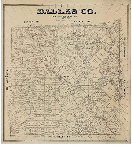 Amazon.com: Dallas County, Texas - 1884 - Wall Map with Land Owners on