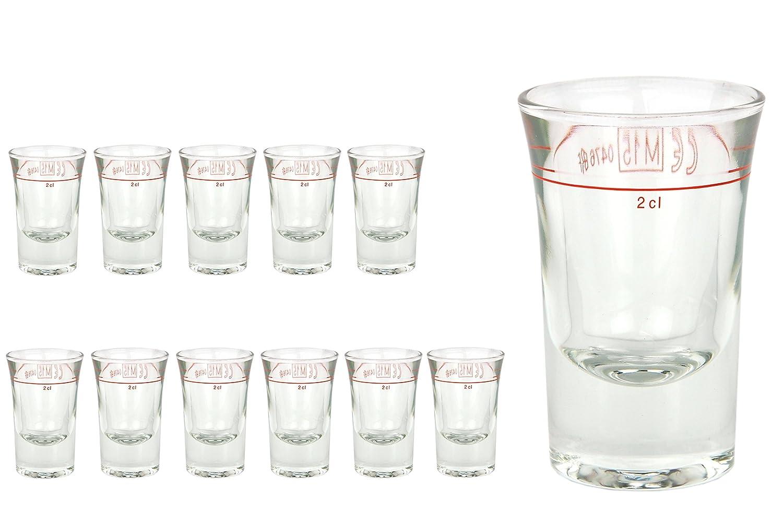 12er Set Schnapsglas DUBLINO mit Eichstrich, 2 cl, geeicht, Spirituosenglas mit Fü llstrich, Stamper, Shot Glas, hochglä nzendes Markenglas, glasklar Van Well