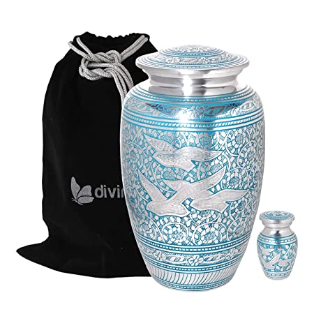 Divinityurns Wings of Love Blue Silver Cremation Urn – Metal Cremation Urn – Handcrafted and Affordable Large Urn for Human Ashes – Adult Funeral Urn with Free Bag and Free Keepsake