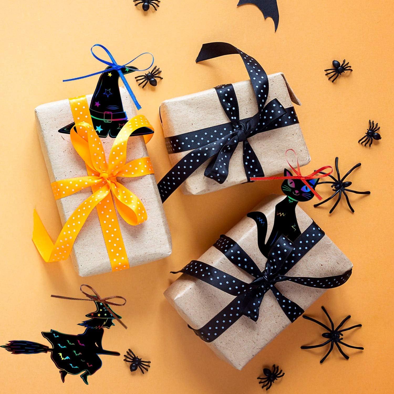 MIAHART Halloween Theme Scratch Paper 24 Pcs Rainbow Scratch Art Paper Card Pumpkin Bat Castle Hats Craft Kit with 10pcs Bamboo Styluses and 8M Ribbons for DIY Halloween Handicrafts(24Pack)