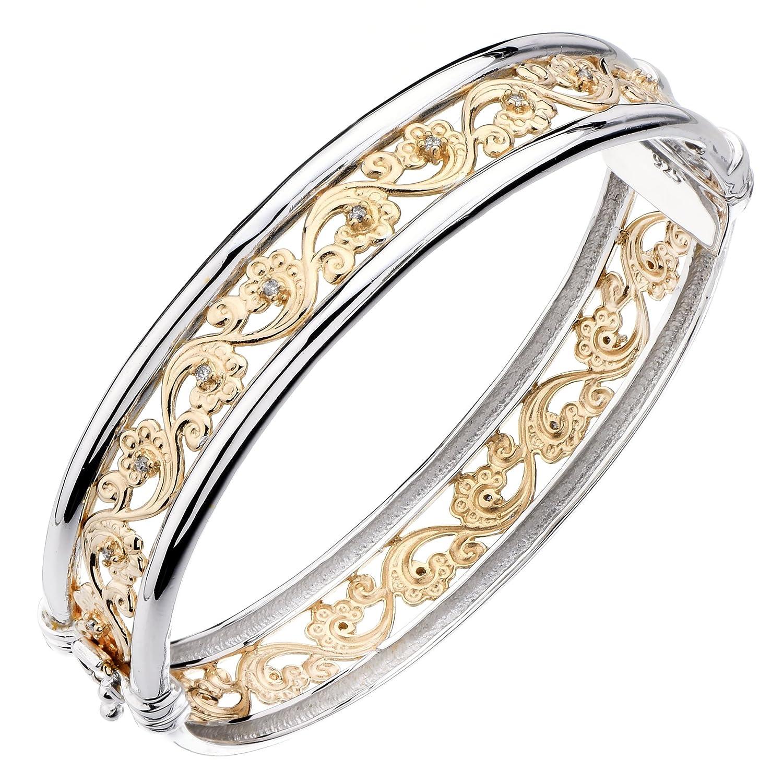 Yellow or Pink Gold Plated Diamond Bangle 1//5 CT