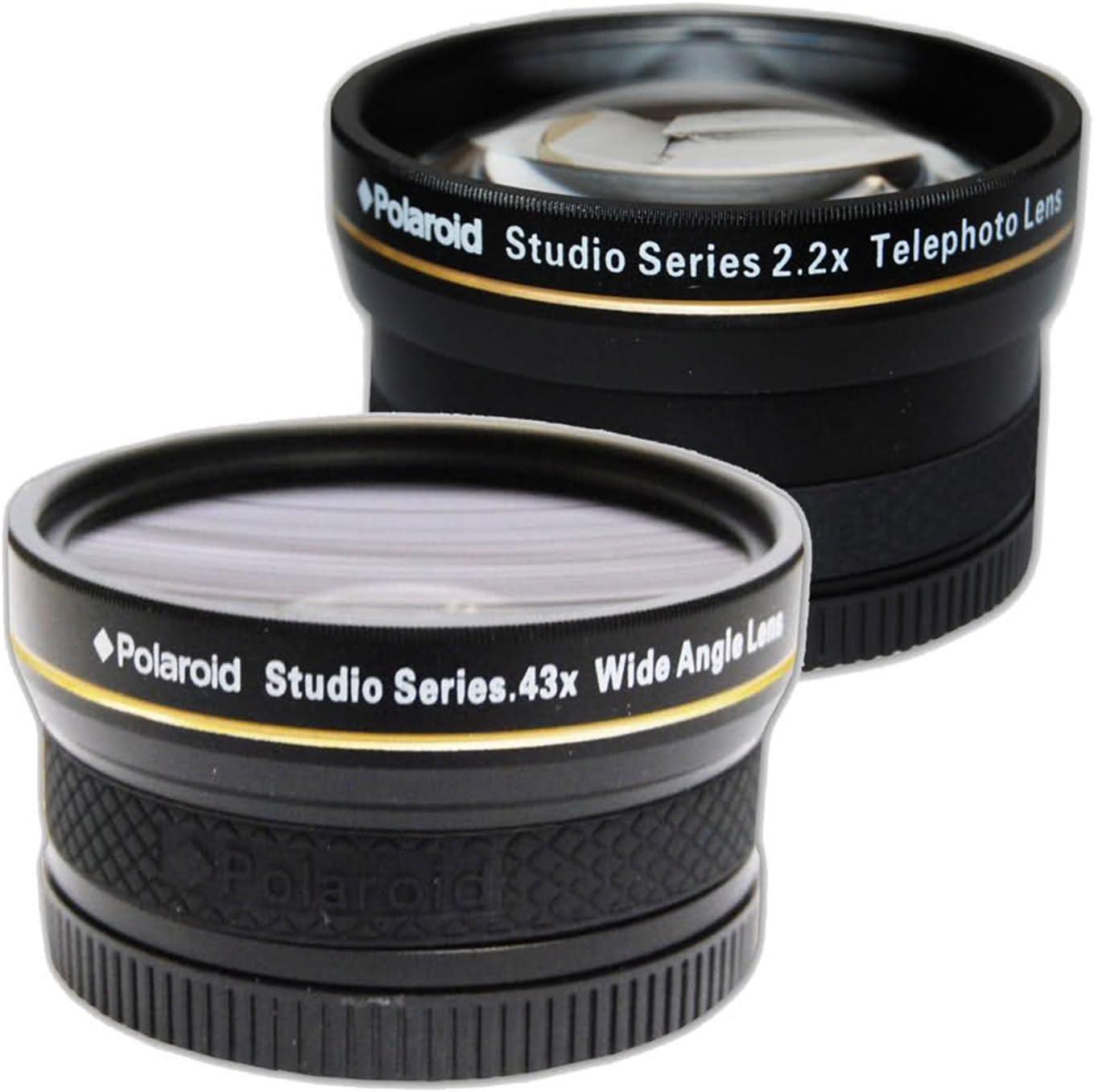 Polaroid Studio Series - Kit de Objetivos de Viaje: Objetivo de 0,43x HD Gran Angular con Adaptador Macro de 52/55/58 mm + teleobjetivo 2,2X HD