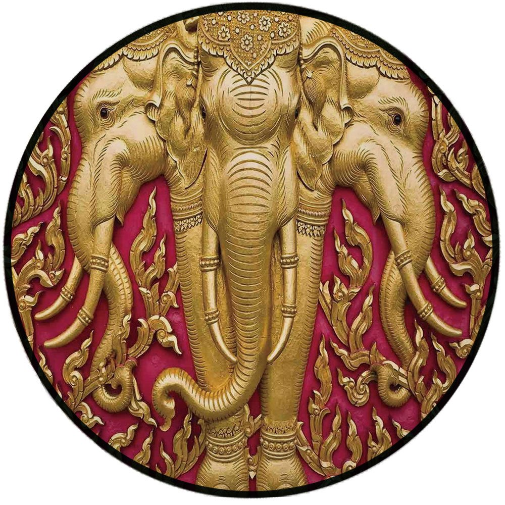 Printing Round Rug,Elephants Decor,Elephant Carved Gold Paint on Door Thai Temple Spirituality Statue Classic Mat Non-Slip Soft Entrance Mat Door Floor Rug Area Rug For Chair Living Room,