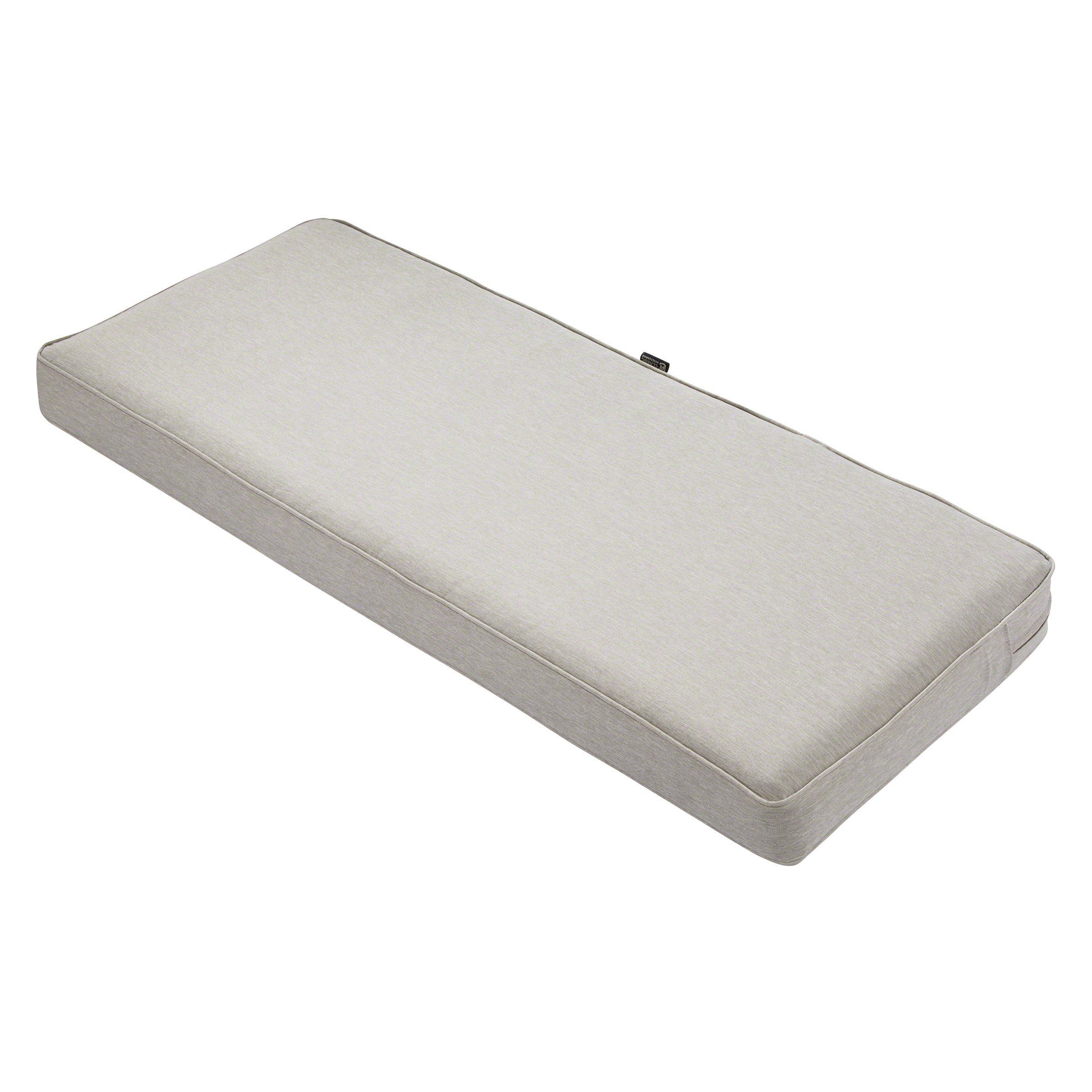 Classic Accessories Montlake Bench Cushion Foam & Slip Cover, Heather Grey, 48x18x3 Thick