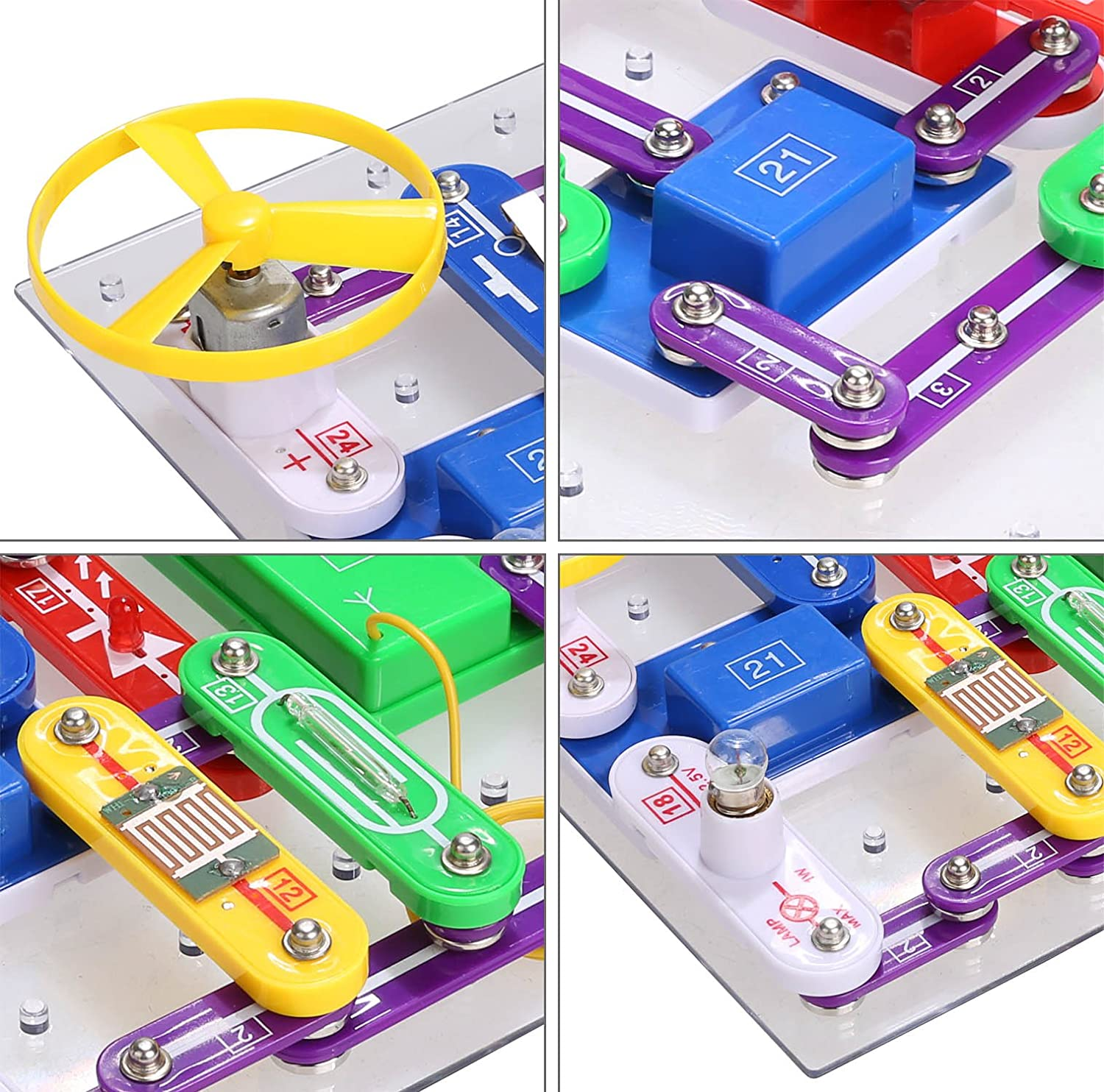 Arshiner 335 Electronics Discovery Kit Diy Electric Electronic Snap Circuits Pro Handson Curriculum Block Educational Science Toy For Kids Toys Games