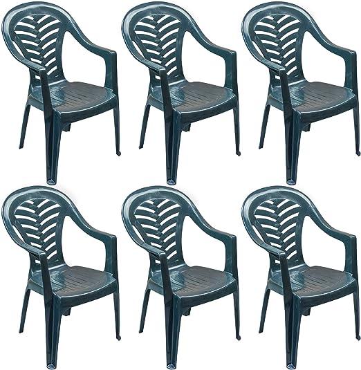 Resol Palma Lot de 6 chaises de jardin en plastique Vert ...