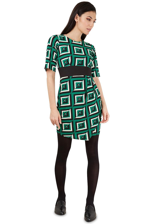 Green Geometric Square Print V Back Dress
