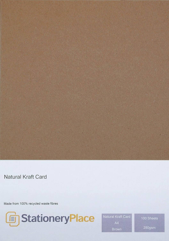 Pack de 100 feuilles A4 280gm Carton Naturel Marron Recycl/é Stationery Place