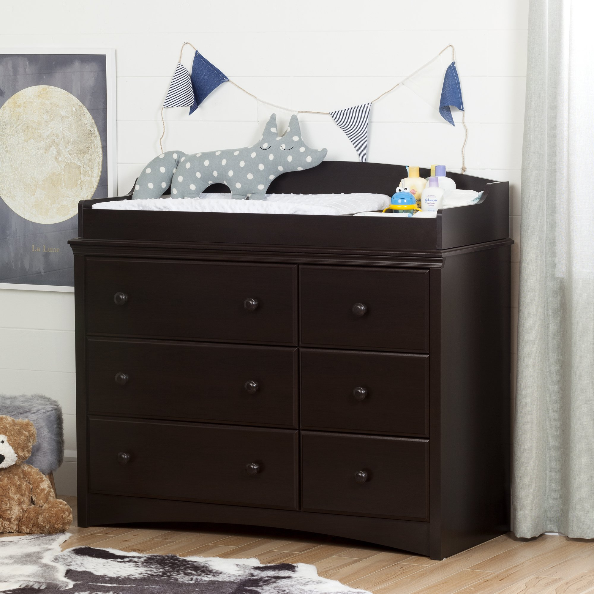 South Shore Furniture Angel Changing Table with 6 Drawers, Espresso