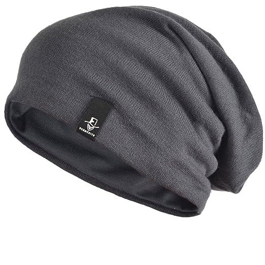 eec77657121 FORBUSITE Men s Slouchy Winter Summer Beanie Hat Skull Cap Oversized (Mid  Gray)