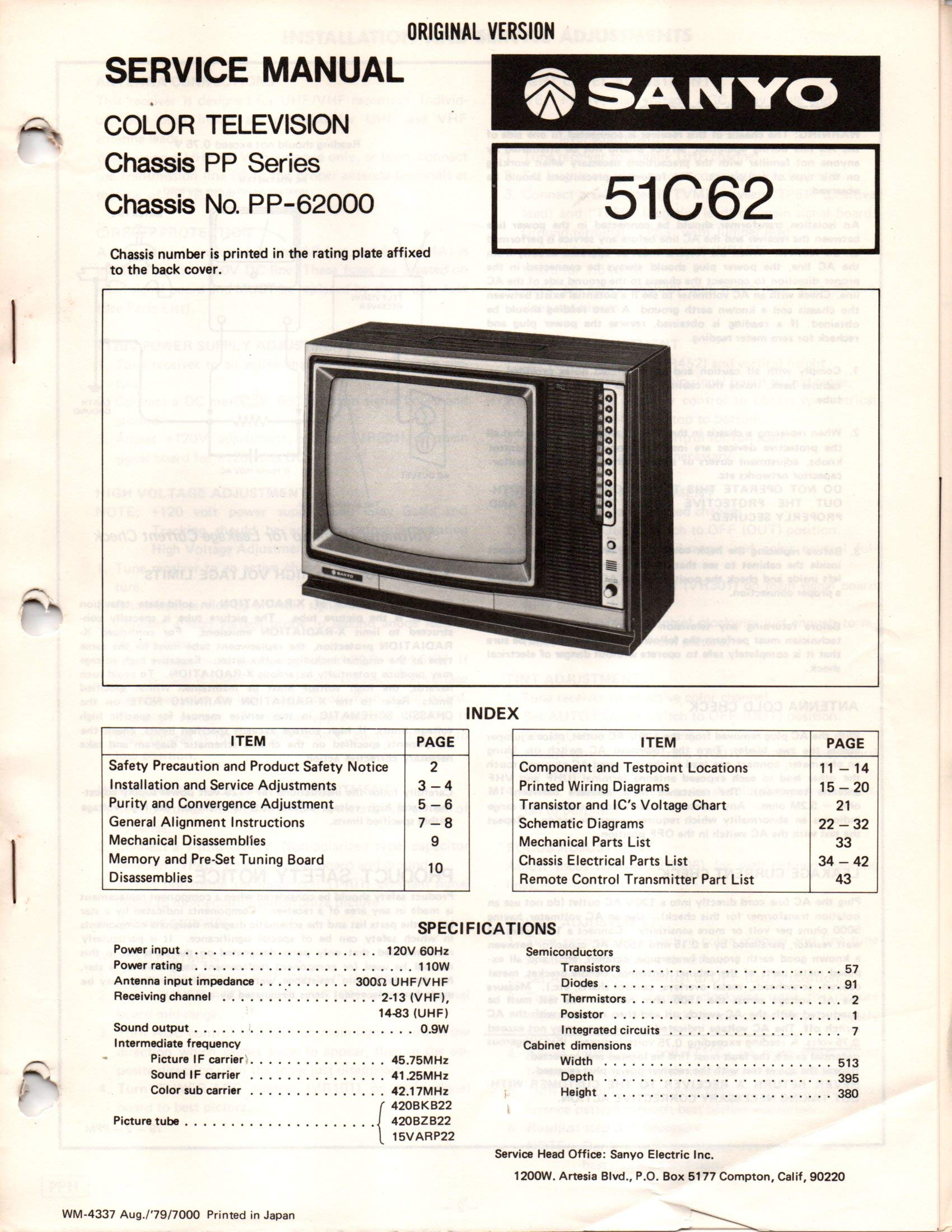 Service Manual for Sanyo 51C62 Color Television TV, Chassis PP Series,  PP-62000: Sanyo staff, various, not stated: Amazon.com: Books | Sanyo Tv Wiring Diagram |  | Amazon.com