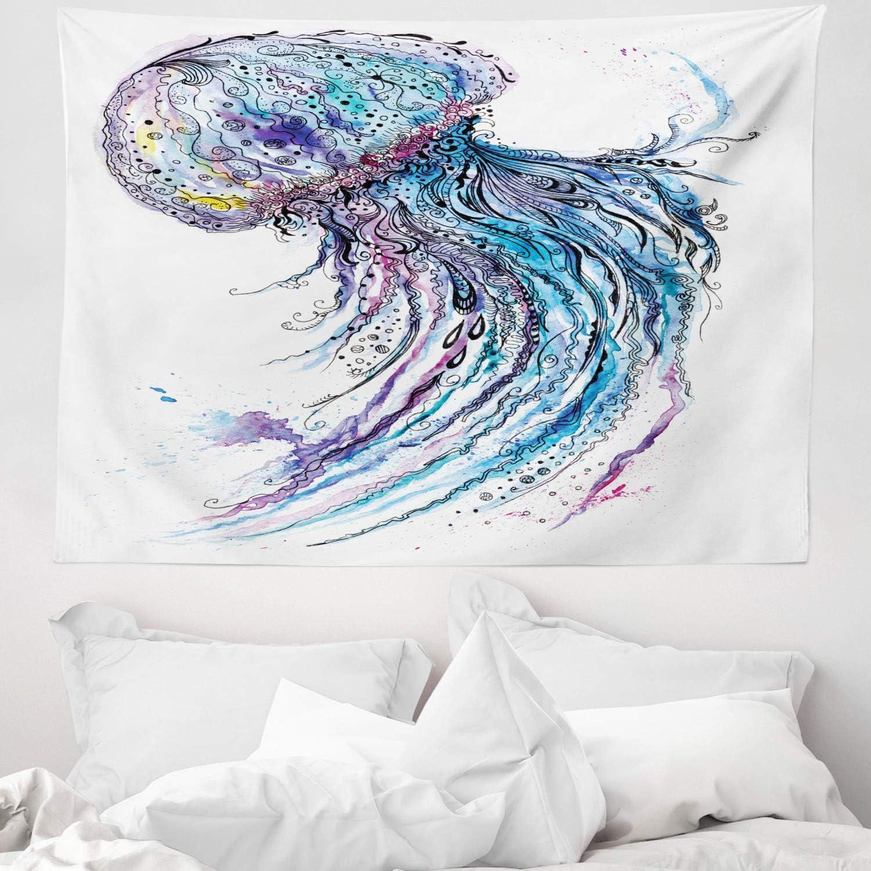 ABAKUHAUS Medusa Tapiz de Pared y Cubrecama Suave, Arte Color Cyan Océano Estampa Animal Estilo Bosquejo Creativo Tema Marino, No se Desliza de la ...