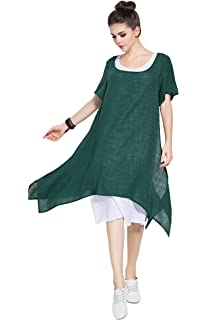 ac54bed27d2 Anysize Fake Two Piece Soft Linen Cotton Spring Summer Dress Plus Size Dress  Y75