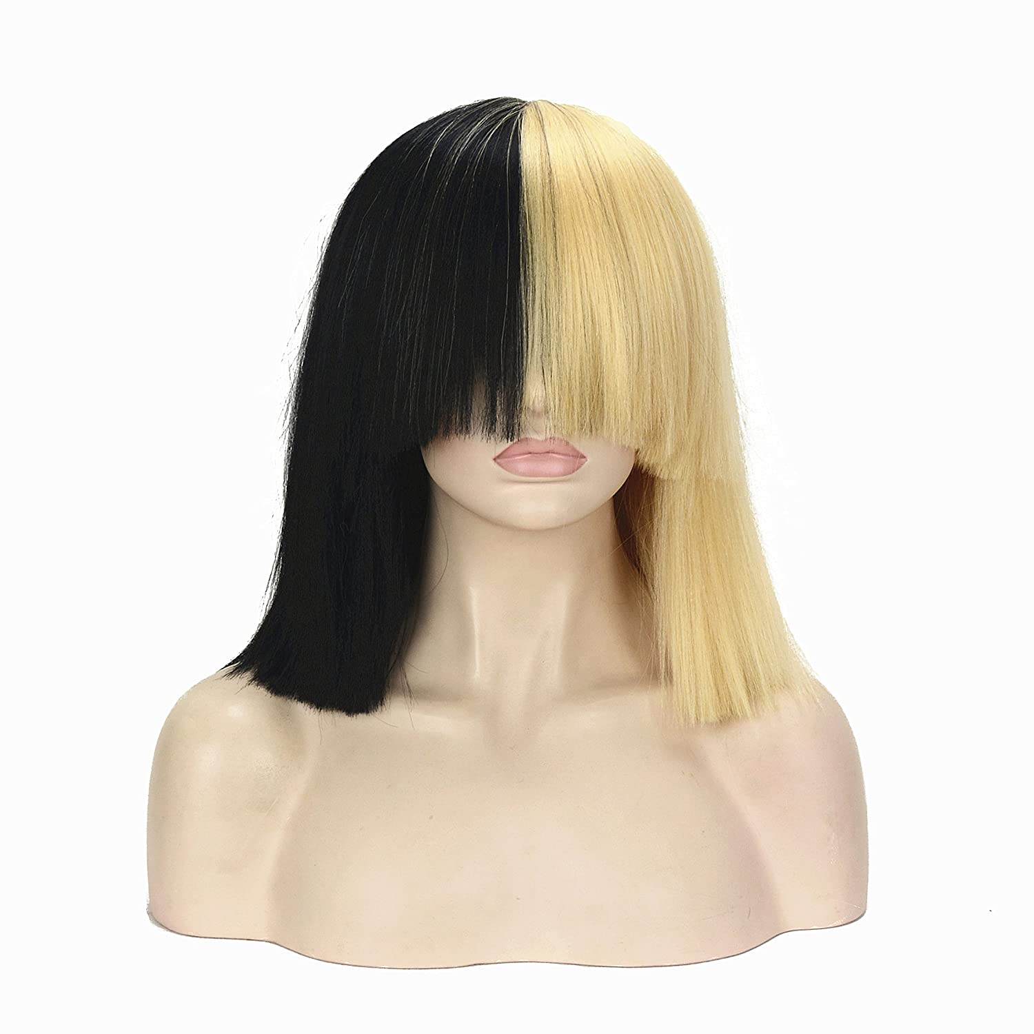 Amazon.com Halloween Party Wig Half Black And Blonde Short