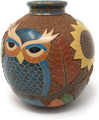 Mundo Village Nicaraguan Pottery 6.5-inch Carved Owl Vase