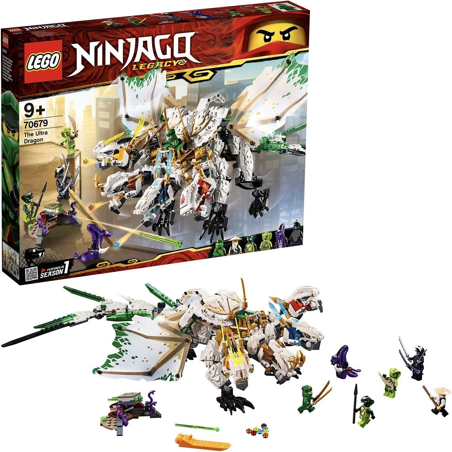 LEGO Ninjago - Ultradragón, increíble dragón de juguete con 4 cabezas, incluye varias minifiguras de ninjas (70679)