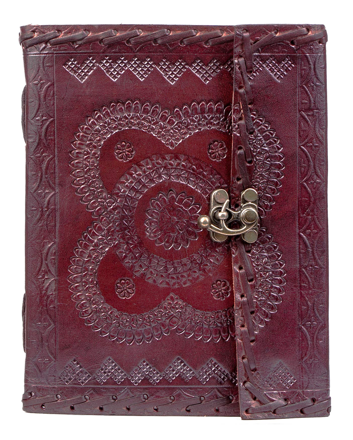 Handmade Large 8'' Embossed Leather Journal Celtic two latches blue stone blank personal Diary notebook refillable journal gift (handembossed)