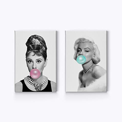 Audrey Hepburn and Marilyn Monroe Bubble Gum Chewing Gum Black and White Canvas Print Two-Piece Set/Home Decor/Icon Wall Art/Gallery Wrapped Canvas/Ready to Hang 36 x 24 x 2 Piece