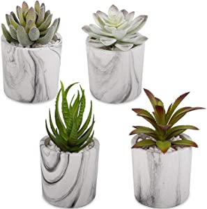 "C APPOK Artificial Succulents Plants Fake Succulent Potted Plants Decor - 4 Pack 3"" x 7"" Mini Flocking Faux Succulents Decorative Plant with Marble Pulp Pot for Home, Desk Decor, Office Decoration"