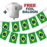Party Decor Set to Celebrate Football World Cup 2018 - Brazil Flags - bunting and free foil balloon
