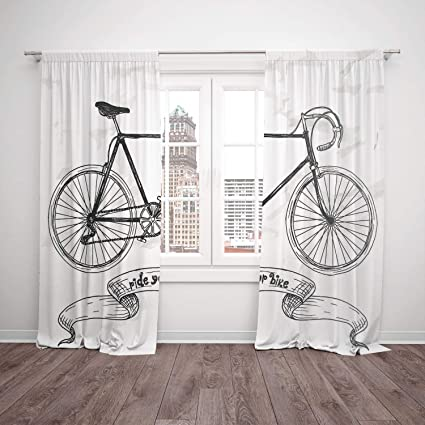 Satin Window Drapes Kitchen Curtains Bicycle Ride Your Bike Lettering With Nostalgic Mountain Bike Hand Drawn Stylized Sketchy Black White Living Room Bedroom Kitchen Cafe Window Drapes 2 Panel Se Amazon Co Uk Kitchen Home