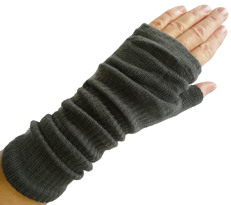alles-meine.de GmbH Pulswärmer Feinstrick 26 cm - Grau - Stulpen Stulpe Armstulpen Muff Müffchen mit - Armstulpen / Edel Einfarbig Uni - Handstulpen