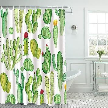 Z&L Home Tropical Grün Pflanzen Stoff Duschvorhang Set mit Haken ...