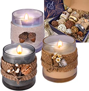 Le Sens Amazing Home Jar Candle Holder Set House Decor Centerpiece 11 inches, Festive Wedding Rustic Family Candles Marriage Ceremony Jar Candles Burlap Lace Pinecones Scented Candle Set (Rattan)