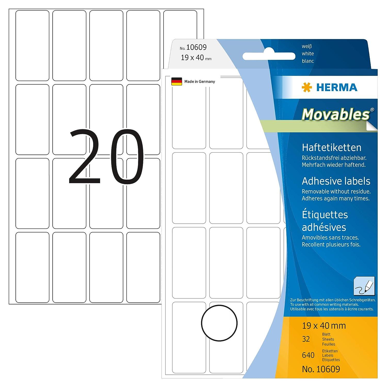 HERMA 10609 - Etiquetas multiuso (640 unidades, 19 x 40 mm ...